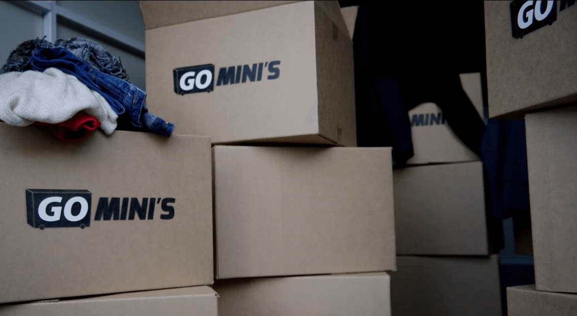 Close-up on a stack of cardboard Go Mini's moving boxes